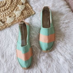 Soludos Turquoise Coral Striped Espadrille Loafers